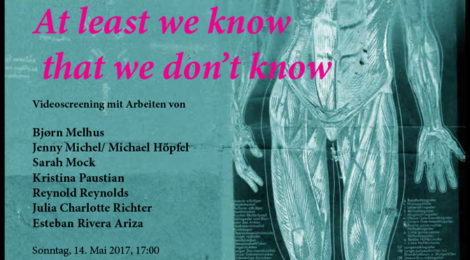 'At least we know that we don't know' -Kunstverein Wolfenbüttel- 14 May 2017, 17:00h